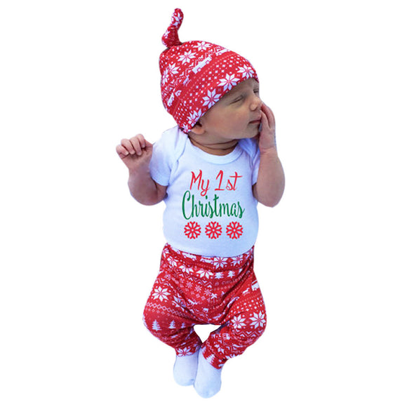 3pcs Xmas set Newborn Baby Girls Boys My First Christmas Letter Print long sleeve Tops Romper+Long Pants Hat Christmas Outfits