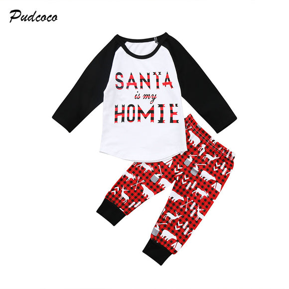 Xmas Clothes Santa is My HOMIE Long Sleeve T Shirt Tops+Deer Pant 2PCS Outfits Clothing Set