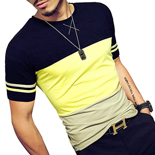 Logeeyar Mens Cotton Fitted Short-Sleeve Contrast Color Stitching T-Shirt (YELLOW M)