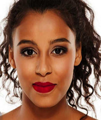 African American woman wearing Mexican Fiesta Roja lipstick by Plum & York