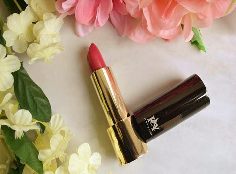LA Isla Naranja lipstick by Plum & York, coral lipstick, makeup for olive to darker skin