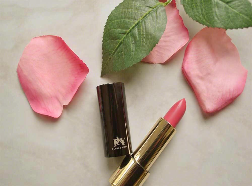 London Primrose Petals lipstick by Plum & York, pink lipstick, makeup for olive to darker skin