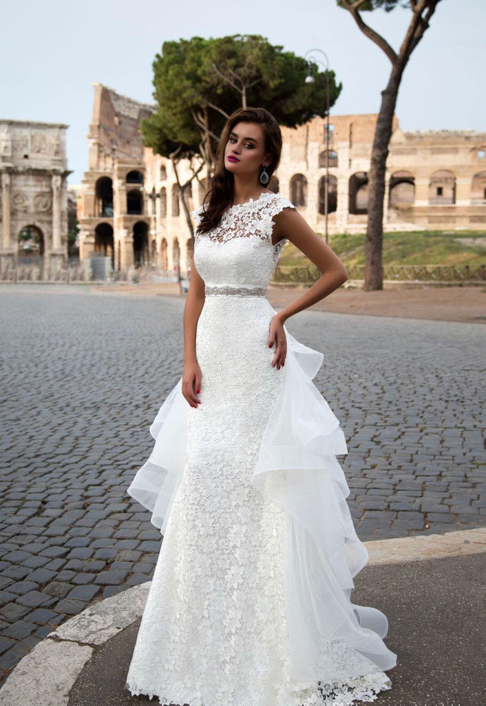 Lace and Tulle Floor Length Sash Bow Detachable Skirt Wedding Dress ...
