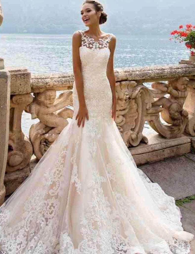 Full Lace Mermaid Crew Neck Wedding Dress #K4027 – Brides By Us ...