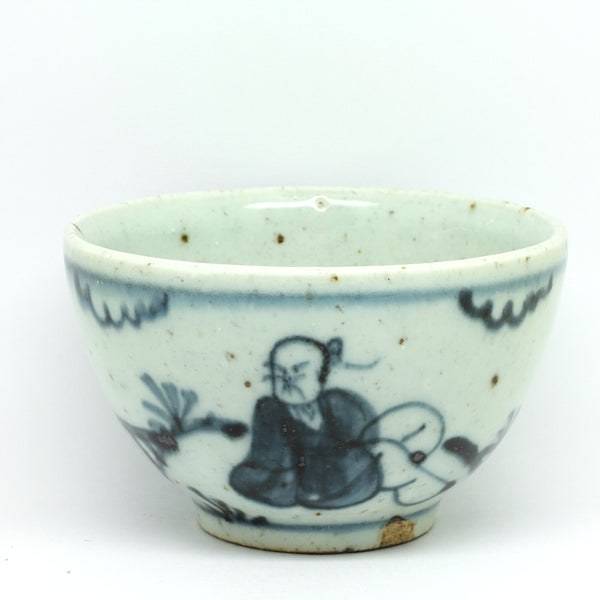 "Hand Painted Antique Style Cup ""Two Wistful Gentlemen"""