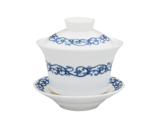 Blue Ornamented White Gaiwan
