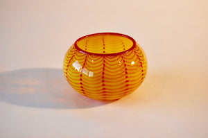 Yellow and Red Striped Bowl