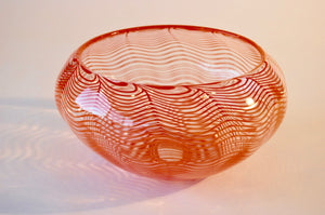 Orange Striped Waffled Bowl