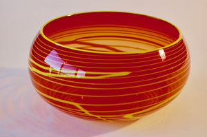 Red and yellow Striped Bowl