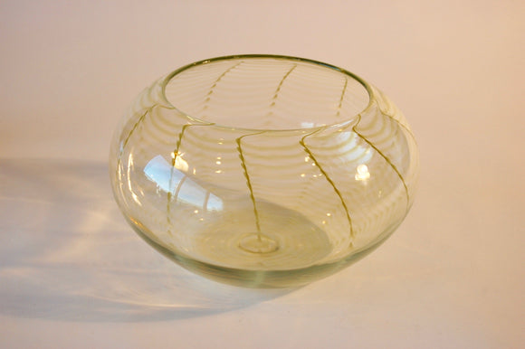 Clear and Pistaccio Striped Bowl