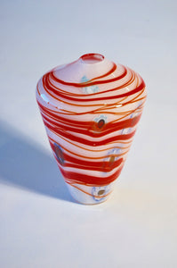 White and Red Striped Cone Vase