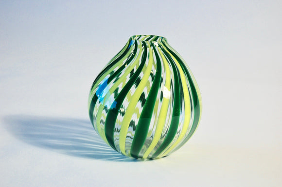 Yellow and Green striped Globe Vase