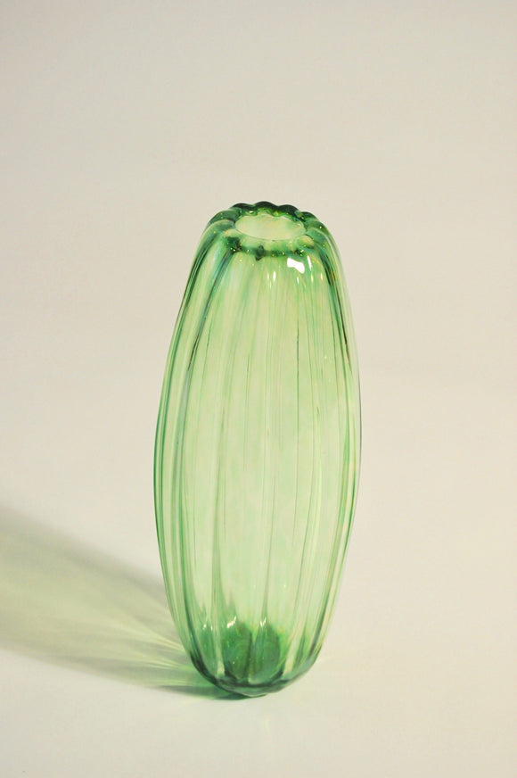 Light Green Ridged Torpedo Vase