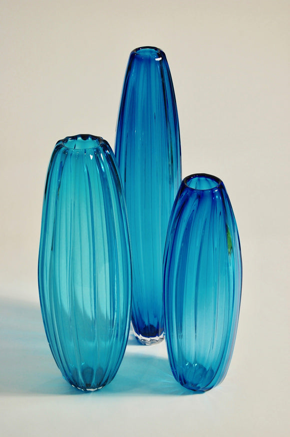 Blue Ridged Torpedo Vase Set #1