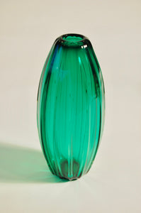 Emerald Green Ridged Torpedo Vase
