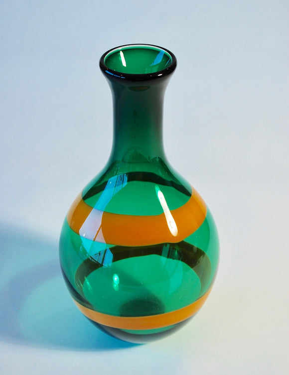 Emerald Green Vase with Wide Orange Stripe