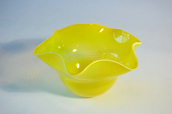 Yellow Striped Hankerchief Bowl