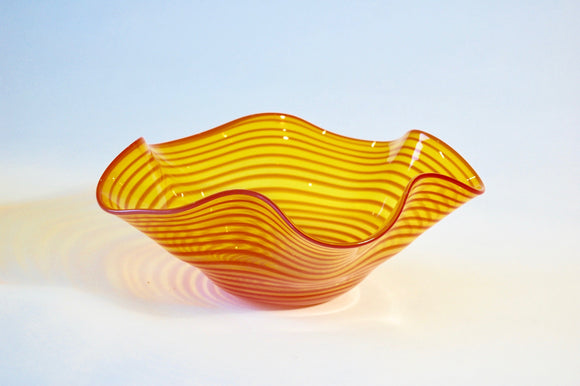 Yellow and Red Striped Hankerchief Vessel