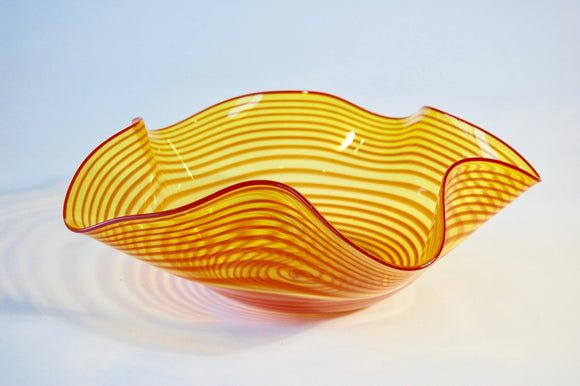 Yellow and Red Striped Striped Hankerchief Vessel