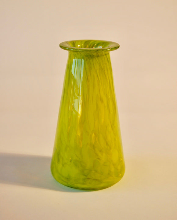 Mottled Olive Green Saturn Vase