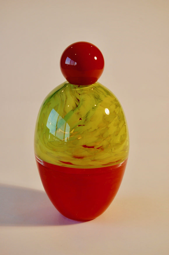Mottled Olive Green and Red Incalmo Egg Vase with Red Stopper