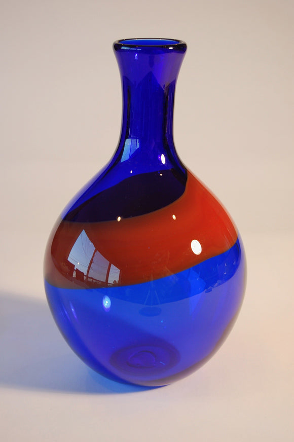 Cobalt Blue with Red Swirl Vase