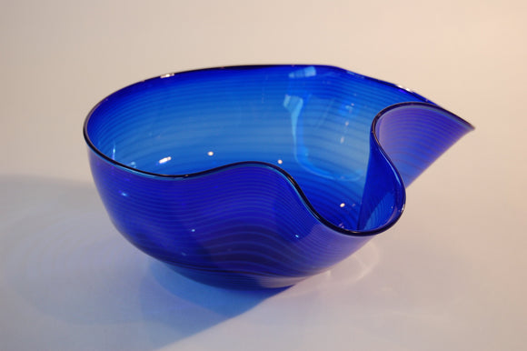 Cobalt Blue Hankerchief Bowl with Yellow Stripes