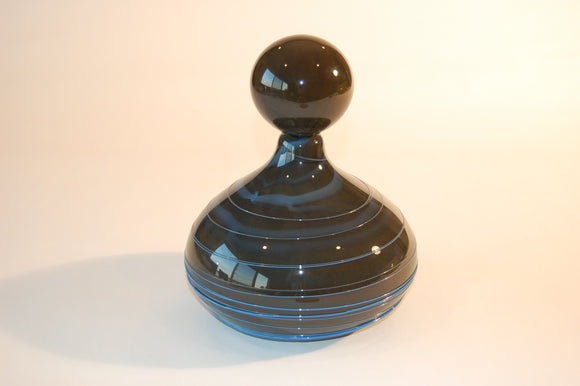 Black and blue Striped Vase with Stopper