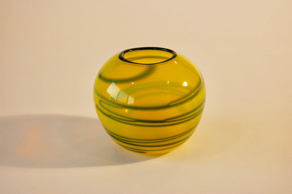 Yellow and Green Striped Vase