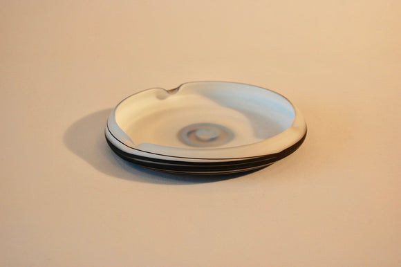 Larry's White and Black Striped Short Ash Tray