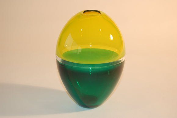 Yellow and Green Incalmo Torpedo Vase