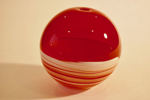 White and Red Incalmo Globe Vase