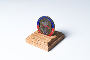 Red Oak Single Challenge Coin Display