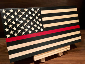 """Thin Red Line"" Mini First Responder Flag"