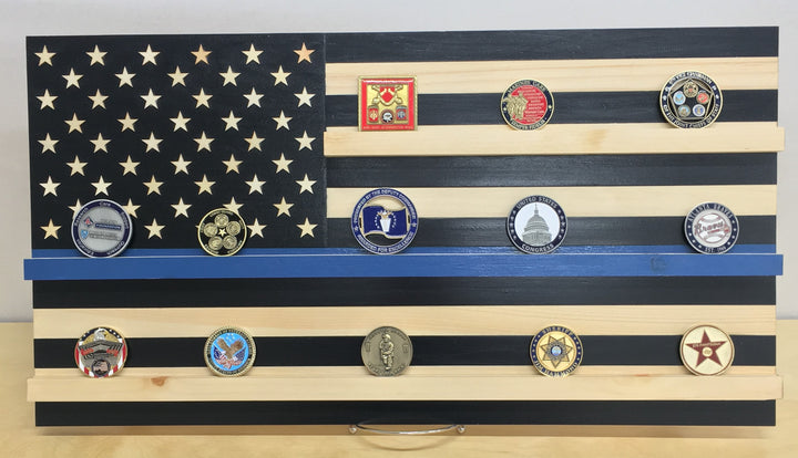 """Thin Blue Line"" Law Enforcement Challenge Coin Display"