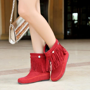 Boho Beach Hut Ankle Boots Red / 4.5 Boho Tassel Fringe Faux Suede Boots