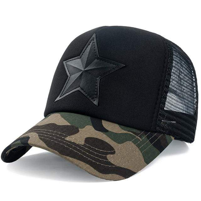 Boho Beach Hut Baseball Caps Dark Camo Black Camo Star Embroidery Mesh Baseball Cap