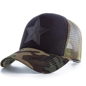 Boho Beach Hut Baseball Caps Dark Camo Camo Star Embroidery Mesh Baseball Cap