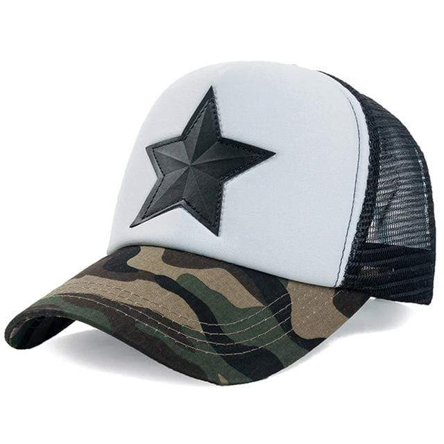 Boho Beach Hut Baseball Caps Dark Camo White Camo Star Embroidery Mesh Baseball Cap