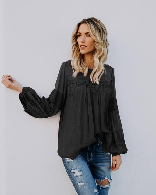 Boho Beach Hut Blouses & Shirts Black / S Bohemian Lace Elegant Blouse