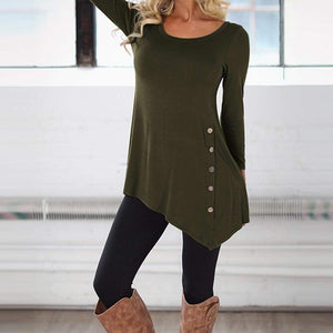 Boho Beach Hut Blouses & Shirts, Long Sleeve Army Green / S Long Sleeve Button Trim Tee