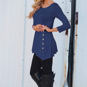 Boho Beach Hut Blouses & Shirts, Long Sleeve Blue / S Long Sleeve Button Trim Tee