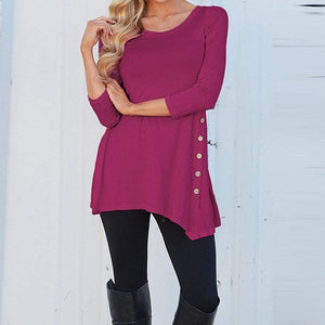 Long Sleeve Button Trim Tee