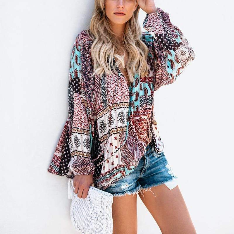 Boho Beach Hut Blouses & Shirts S / Colorful Boho Floral Chiffon Loose Blouse