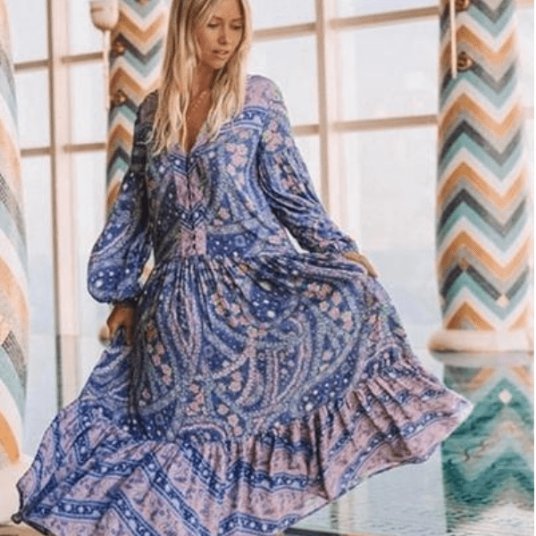 Boho Beach Hut Boho Dress, Beach Dress, Summer Dress, Maxi Dress, Chic Dress, Long Dress, Below knee dress Floral Print / S Boho Long Sleeve Floral Print Dress