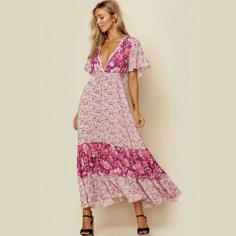 Boho Beach Hut Boho Dress, Beach Dress, Summer Dress, Maxi Dress, Chic Dress, Long Dress, Below knee dress S / Pink Pink Floral Print Dress