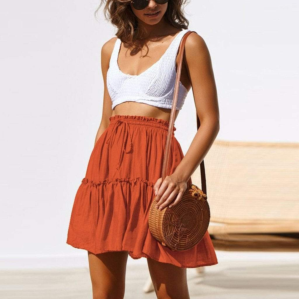 Boho Beach Hut Boho Skirt Orange / S Boho Casual Mini Skirt