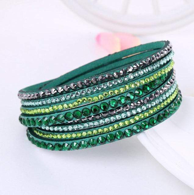 Leather Rhinestone Bracelet
