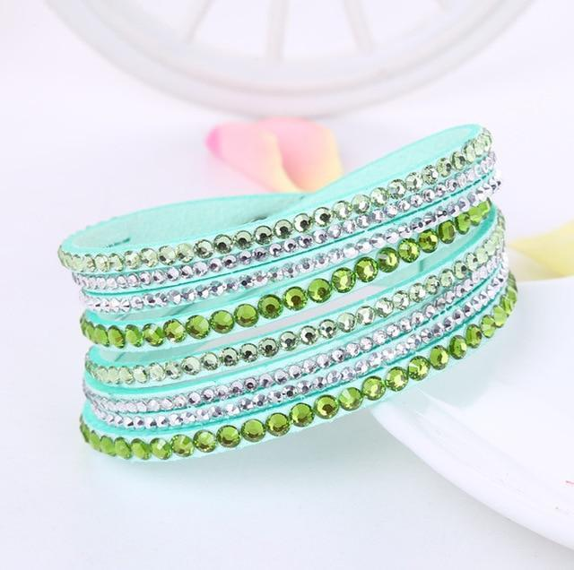 Boho Beach Hut Charm Bracelets Light Green / One Size Leather Rhinestone Bracelet