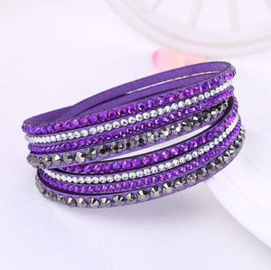 Boho Beach Hut Charm Bracelets Purple / One Size Leather Rhinestone Bracelet